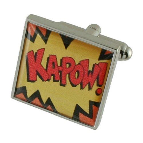 Cartoon Batman Kapow Designer Schwere Gewicht Solide Sterling Silber 925Manschettenknöpfe + Personalisiertes Geschenk Nachricht Manschettenknöpfe Box