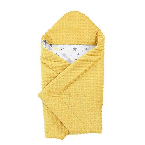 TupTam Baby Sommer Einschlagdecke für Babyschale, Farbe: Gelb/Sterne Gelb Weiß, Größe: ca. 75 x 75 cm