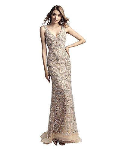Clearbridal Damen Luxuar Abendkleid Ballkleid Maxikleid Bodenlang Elegant mit Glitzersteinen Champagner CLX423 Gr.56