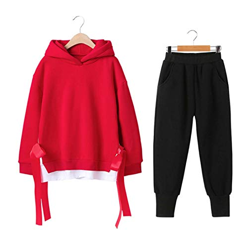 Meisjes Trainingspak Joggingpak 2 Stks Set Lange Mouw Effen Fleece Hoodie Sweater Jumper Top + Broek Set Outfits Kleding voor 4 Jaar-13 Jaar Oude Lente Herfst Tracksuit