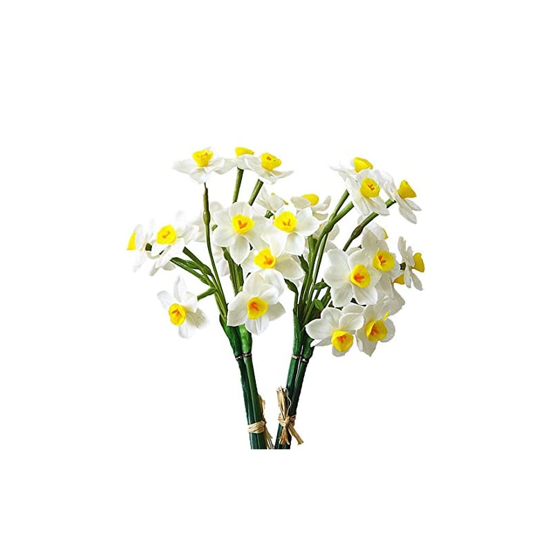 silk flower arrangements calcifer 2 bunches latex artificial daffodils bulbs flowers bouquet for home garden wedding party decoration (style a, white)