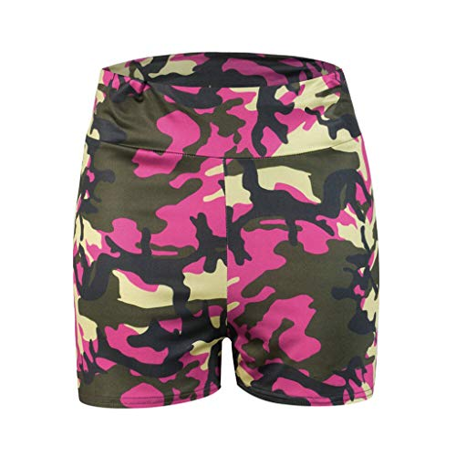 Lazzboy Leggings Damen Shorts Hotpants Fitness Kurze Yogahose Sporthose Camouflage Print Hüfte Hohe Taille Sport Yoga(Rosa,XL)