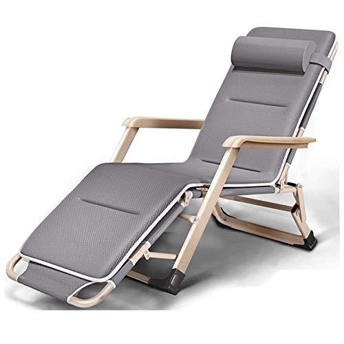FSXJD Silla plegable de gravedad cero con cojín acolchado ajustable Tumbona de aluminio Marco reclinable al aire libre Camping cubierta inclinada silla máx. 260 kg- gris+estera