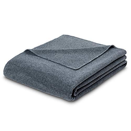 ESTELLA woondeken Trevi | grijs | zeer zachte fleece kwaliteit met doorgestikte rand | 160x200 cm | behaaglijke woondeken voor bed en bank
