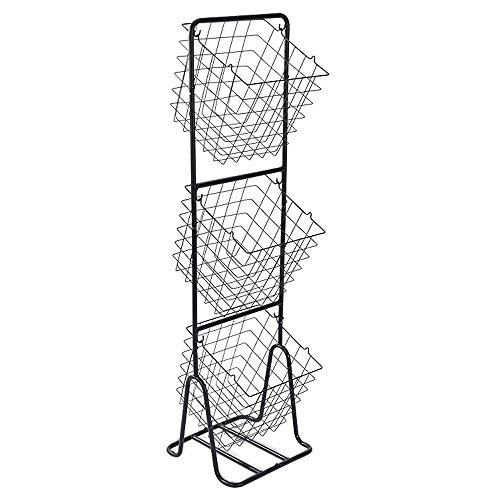 ZYJ Gabinete de alimentos vertical vertical de cocina de 3 capas Unidad de estante Torre de administrador de almacenamiento de metal decorativo con 3 cajas de cestas for acomodar y organizar frutas Pa