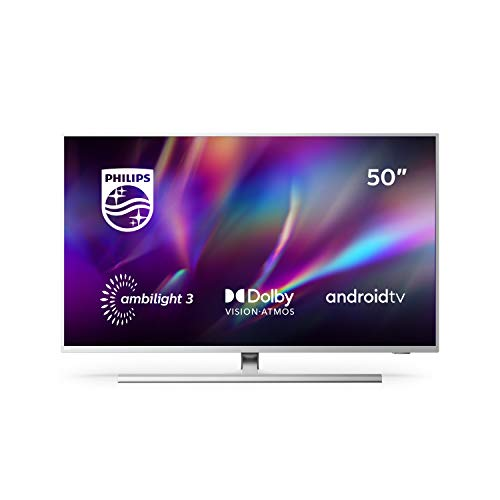 "Philips TV Ambilight 50PUS8505/12 50"" 4K UHD TV LED (Processore P5 Perfect Picture, HDR10+, Dolby Vision∙Atmos, Android TV, Works with Alexa) Argento - Modello 2020/2021"