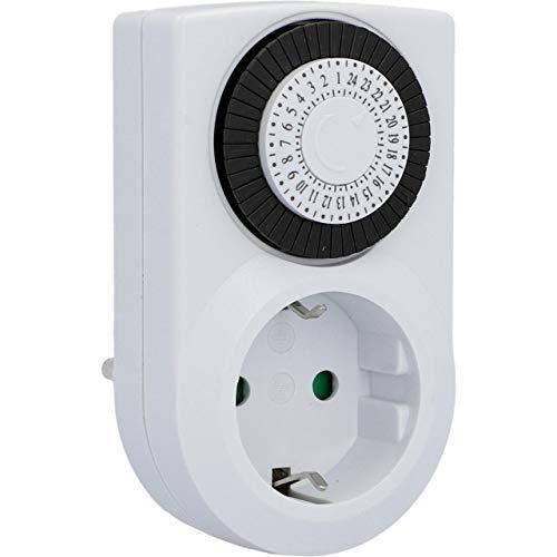 UNITEC Mechanische Tages-Zeitschaltuhr mini, für Innengebrauch, analog , weiß, 30 Minuten-Abstände einstellbar, Schutzart IP 20