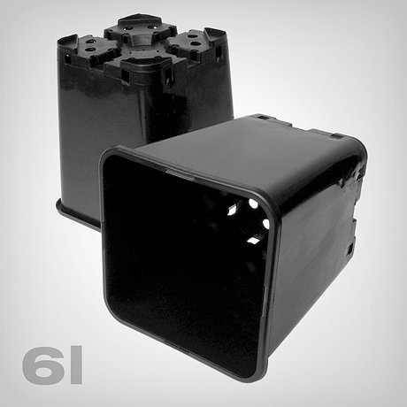 GIB Pflanztopf viereckig/schwarz, 6 Liter