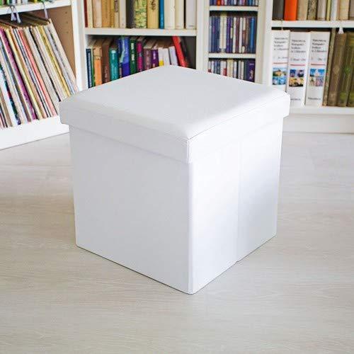 Relaxdays Puff Almacenaje Cuadrado con Tapa, Piel Sintetica, Blanco, 38 x 38 x 38 cm