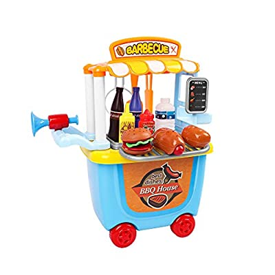 Innotic Pretend Play Food Toy BBQ Play Food Kitchen Toy Cart for Kids Growth Gifts, Great for Toddlers Ages 3 and Older