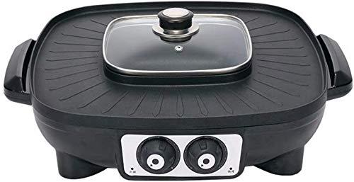 Parrilla eléctrica portátil, Multifunción doméstica Barbacoa eléctrica Parrilla BBQ BBQ Hotpot Non-Palo...