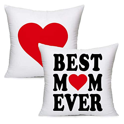 LOZACHE Best Mom Ever Home Decorative Throw Pillow Case Cushion Cover for Couch Sofa Bed for Mommy Christmas Mothers' Valentine's Day Present, 18x18 inches, Set of 2