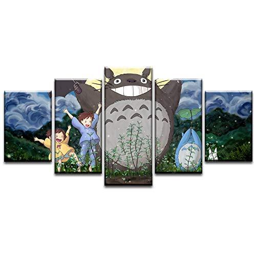YANGMAN-ART Canvas Schilderijen Kusakabe Zusters Spelen met Mijn Buurman Totoro Home Muurdecoratie Baby Gift 5 Panel met Frame Klaar om op te hangen