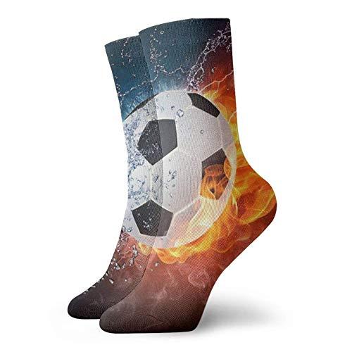 Balón de fútbol en el fuego y el agua Calcetines deportivos deportivos divertidos unisex Calcetines casuales para interiores y exteriores 30 cm Adecuado para hombres Mujeres Medias de tripulación