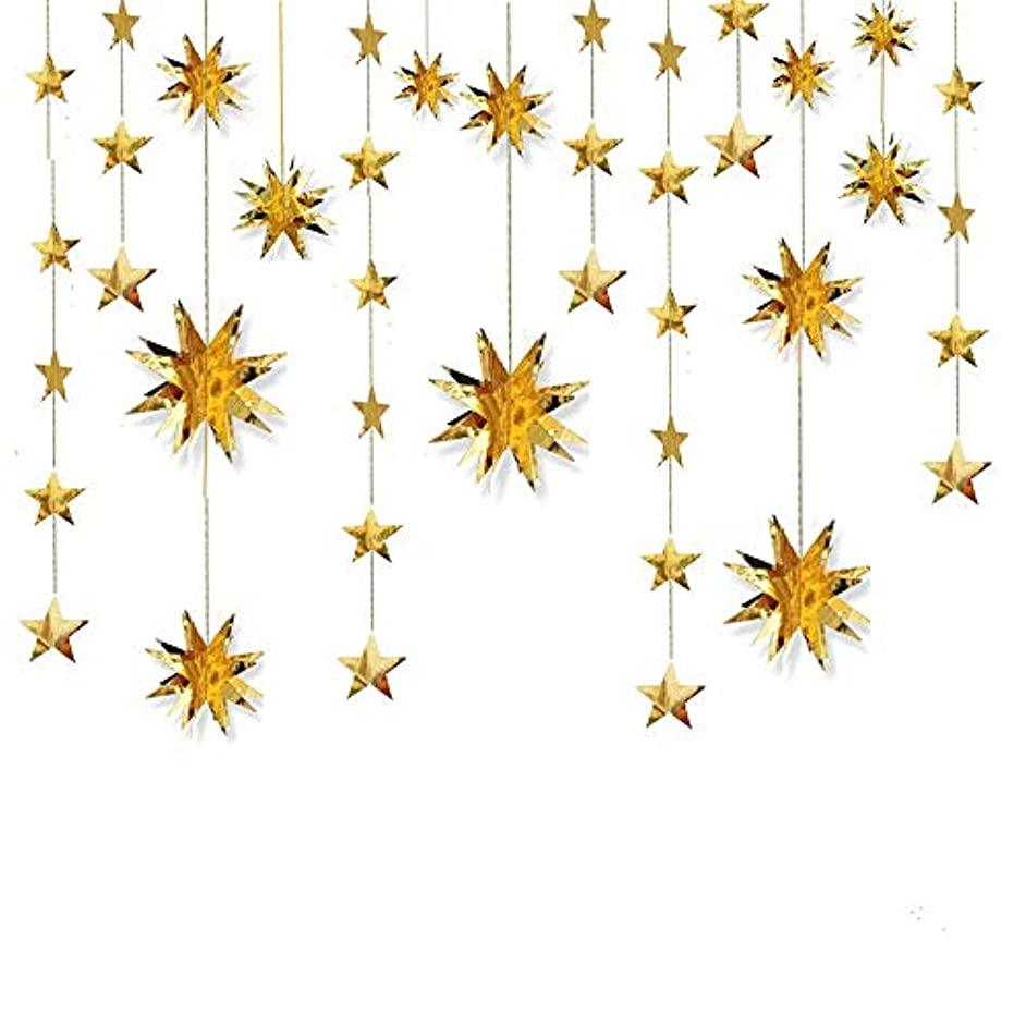 4 Set Gold Sparkly Star Paper Garland,3D Twinkle Star Hanging Bunting Banner for Wedding Birthday Party Holiday Christmas Decorations