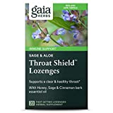 Gaia Herbs Sage & Aloe Throat Shield Lozenges, 20 Count (Pack of 2) - Soothing, Hydrating Support for Throat Health and Inflammation