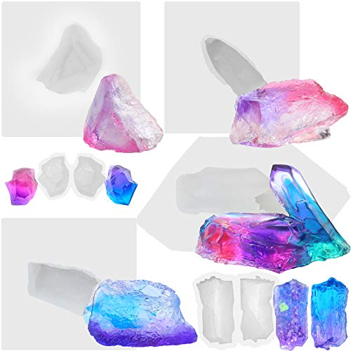 Funshowcase Growing Crystal Quartz Rock Cluster Geode Druzy Gem Silicone Mold Trays 6-count for Resin Epoxy, Soap, Candle, Isomalt Assorted Size ( smaller )