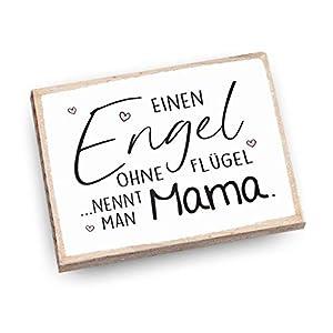 Handmade Magnet aus Buchenholz mit Spruch | Einen Engel ohne Flügel nennt man Mama
