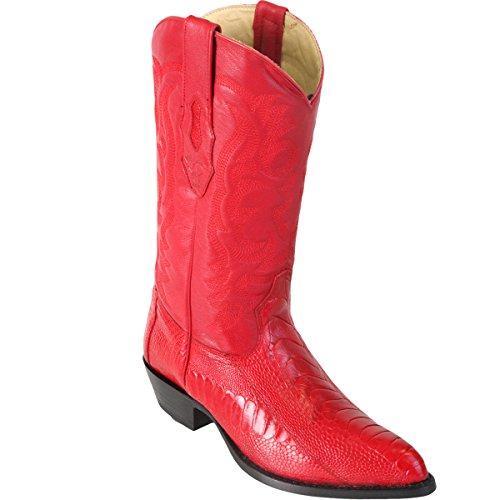 Original Red Ostrich Leg LeatherJ-Toe Boot
