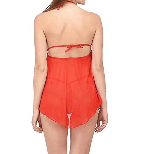 new blue eyes Nighty for Honeymoon Dress with G String for Woman Red