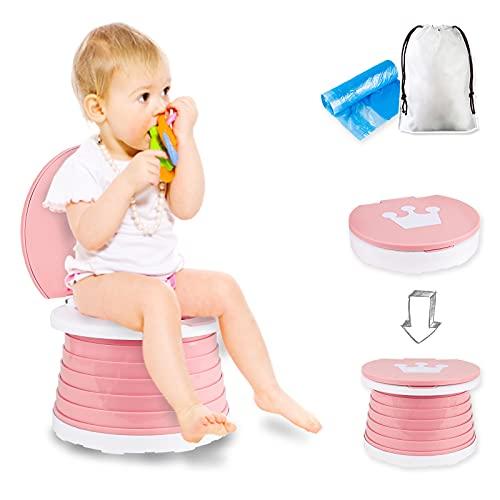 Asiento de Inodoro Para Niños, Silla de Inodoro Plegable Para Entrenamiento de Bebés Orinal de Viaje Para Interiores y Exteriores con Bolsa de Viaje (pink)