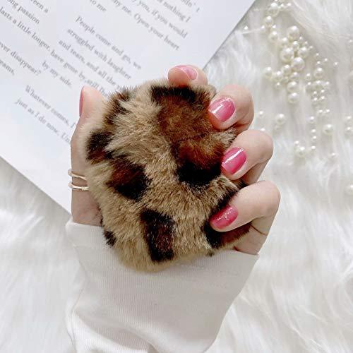 Miagon für Airpods Pelz Hülle,Super Weich Winter Warm Leopard Hase Kunstpelz Plüsch Fluffy Case Cover für Mädchen Kinder Jungen für Airpods 1 & 2,Braun