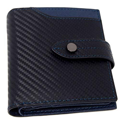 二つ折り 財布 メンズ レディース [TomCollins] 薄い BOX型 小銭入れ スキミング防止 カード17枚 カーボンレザー ふたつおり 財布 父の日 プレゼント ギフト