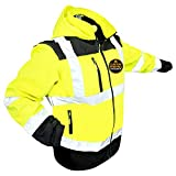 KwikSafety (Charlotte, NC) AGENT SoftShell Safety Jacket (DETACHABLE Hood) Class 3 Hi Visibility Water Resistant ANSI OSHA Reflective Hoodie Warm Winter Construction Gear Men | Yellow Large