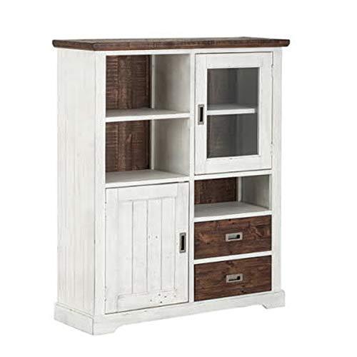 MÖBEL IDEAL Highboard Antik Weiß/Vintage Braun im Landhausstil aus recyceltem Massivholz Anrichte B 120 x T 40 x H 143 cm