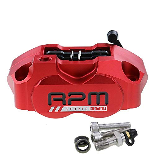 YUQINN Moto Partes Motocicleta Rpm freno Pinza de freno de 82 mm de montaje de la bomba de pistones radiales 4 for Yamaha Kawasaki Vespa rsz Jog Fuerza bici de la suciedad Modificar (Color : RED)
