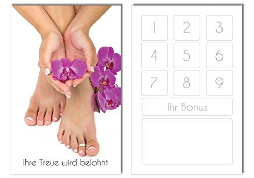 100 Bonuskarten / Treuekarten Orchidee Pediküre Fusspflege