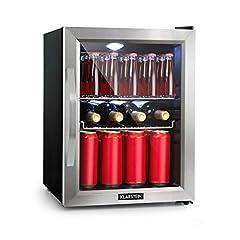 Klarstein Beersafe M - minibar, mini-réfrigérateur, réfrigérateur, silencieux, 42 dB, inox, porte vitrée, régulateur de température à 5 étages, 2 glissures, 35 litres, argent noir