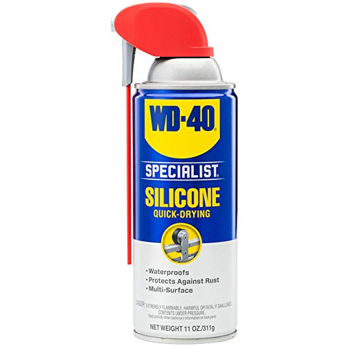 WD-40 Specialist Water Resistant Silicone Lubricant with SMART STRAW SPRAYS 2 WAYS, 11 OZ