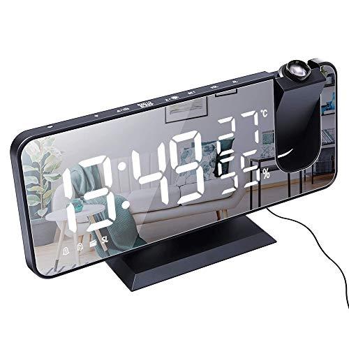 CXZC Projektionswecker, LED Digital Wecker mit Projektion 180°, Radiowecker mit USB-Anschluss großem LED-Anzeige Snooze Dual-Alarm, 4 Projektionshelligkeit mit Automatischem Dimmer, FM Radio