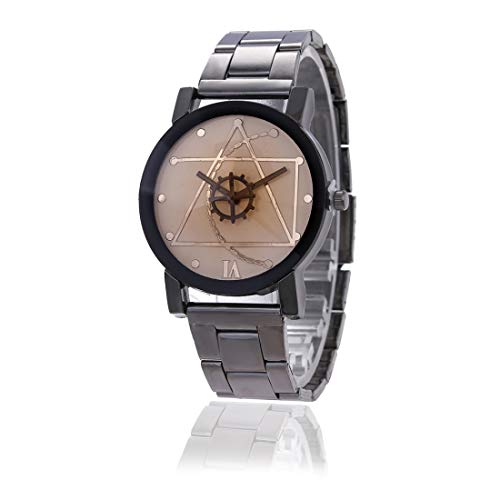 YCYC AYSMG 2 STÜCKE Brown Glass Gear Wolfram Stahlband Uhr for Männer/Frauen (Männer Schwarz) (Color : Men White)