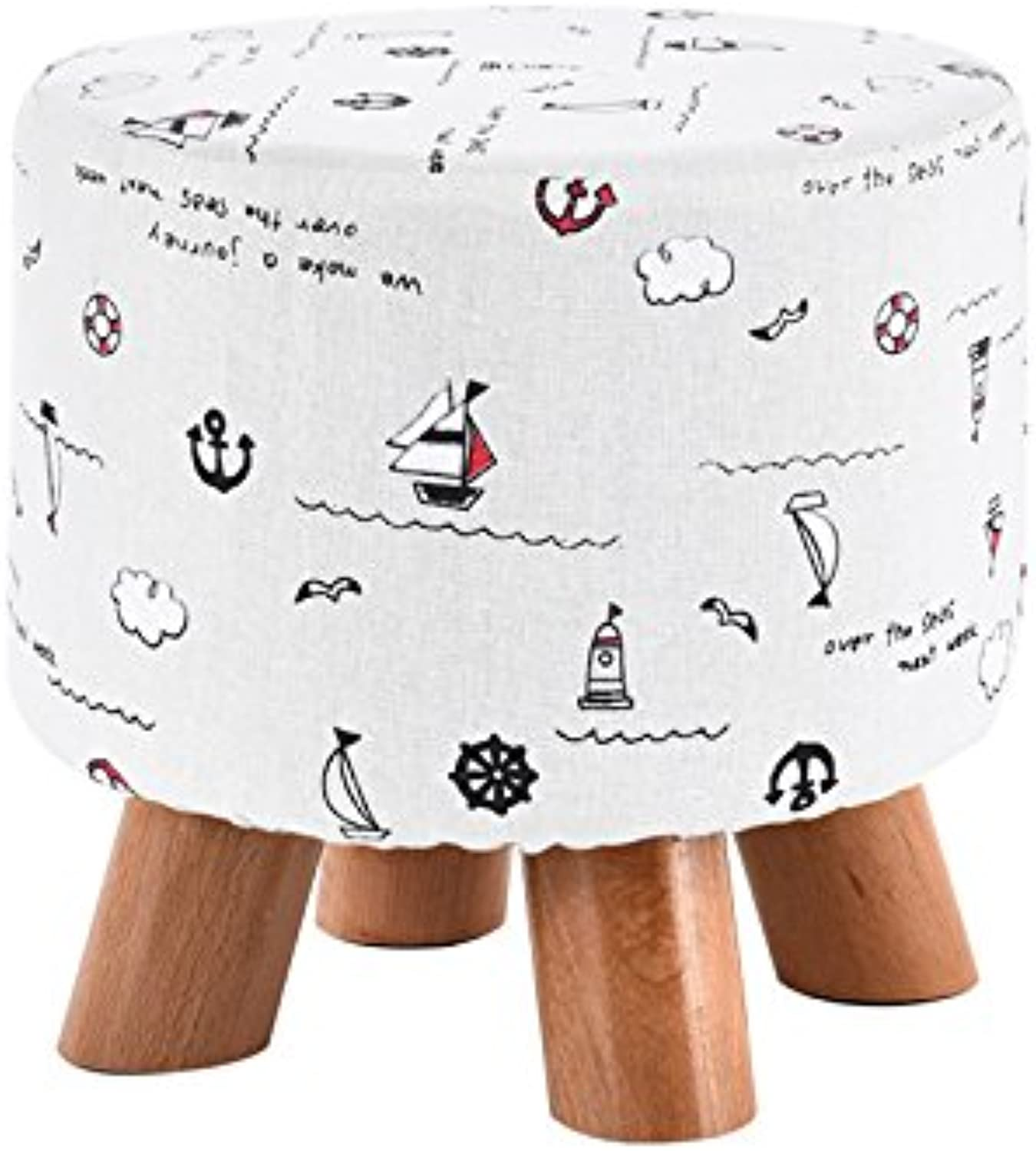 Dana Carrie Stool Fashion on a Low stool Solid Wood Creative Adult Round stool Home Fabric Sofa Chair Small Chair, a Bench, Four Legs Sailing