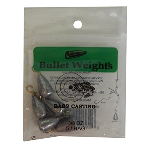 Bullet Weight SS38 3/8-Ounce Bass Casting Sinker, Gray Finish,Multicolored