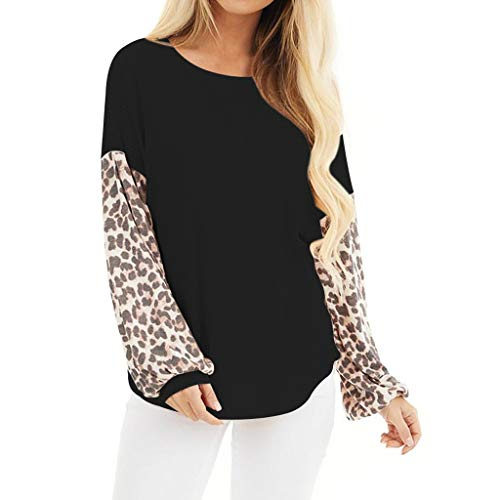 KANGMOON Women's Casual Long Sleeve Leopard Color Block Tunics Blouses Loose Fit Waffle Knit V Neck T Shirts Tops