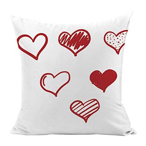 Hunpta @ Valentinstag Kissenbezug Herzform und Spruch Muster Kissenhüllen Kopfkissenbezug für Wohnzimmer Schlafzimmer Sofa Zuhause Büro Deko Zierkissenbezüge mit Reißverschlüsse 45x45cm