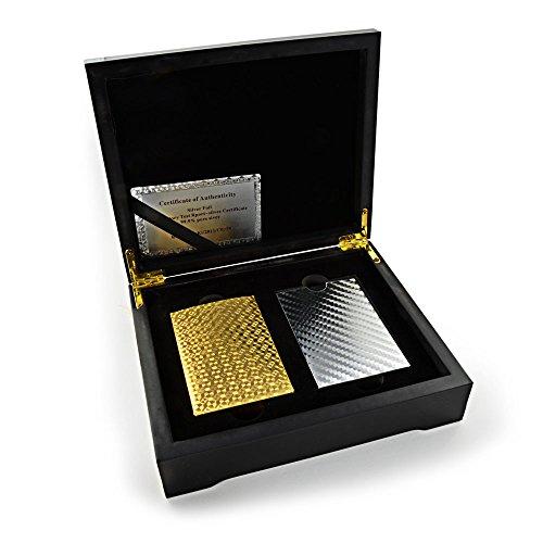 Ganzoo Poker Geschenkset Texas Hold'em, Karten in Gold und Silber, mit 2 x 54 Karten, beide Kartensets in edler Holzschatulle, Black Jack, Spielkarten, Plastiklarten, Playing Cards - Marke