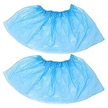 VILLCASE 100 fundas desechables para zapatos, cubiertas de plástico para zapatos, protectores de alfombra, antideslizantes, a prueba de polvo, para casa, oficina, laboratorio, coche, color azul