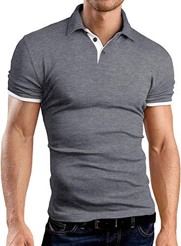 KUYIGO Camisa Polo Masculina Manga Longa Casual Slim Fit Camisetas de Algodão Básicas, Dark Grey, Medium