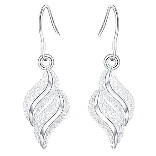 1 Paar Frauen Silber Kleine Ohrring Wellenförmige Blattförmige Ohrstecker Schöne Ohrringe