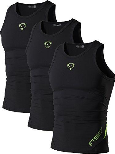 jeansian Herren Sportswear 3 Packs Sport Quick Dry Compression Tank Tops Vests Shirt LSL3306 PackG L