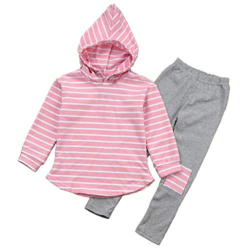ModnToga Toddler Kids Boy Girl Striped Long Sleeve Hoodie Pants Outfits Winter Clothes Set for 3-7Y (Pink, 100 (3T))
