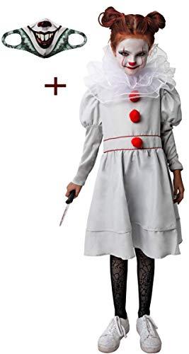 Gojoy shop- Disfraz y Mascarilla de It Payaso Asesino para Niñas Halloween Carnaval(Contiene Vestido, Cuello y Mascarilla Higiénica Reutilizable, Disfraz Tiene 4 Tallas Diferentes) (7-9 años)