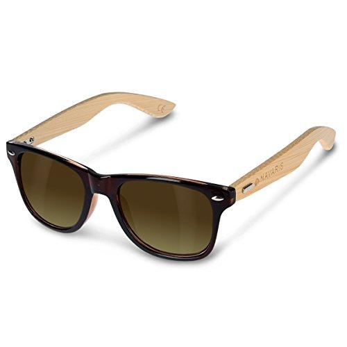 Navaris Gafas de sol UV400 - Gafas de madera para hombre y mujer - Gafas de sol con patillas de madera - Marrón