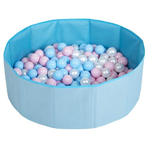Selonis Piscina Plegable Con Bolas Coloridas De 100 Bolas NZ-78-BLUE, Azul:Azul Claro/Rosa Claro/Perla