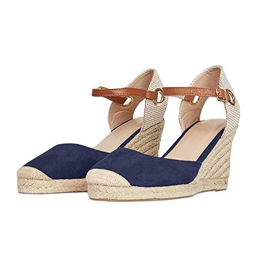 Alpargatas de Mujer con tacón de cuña, Sandalias de Plataforma con Hebilla de Tobillo Cerrada con Tira Trasera de Lona para Verano