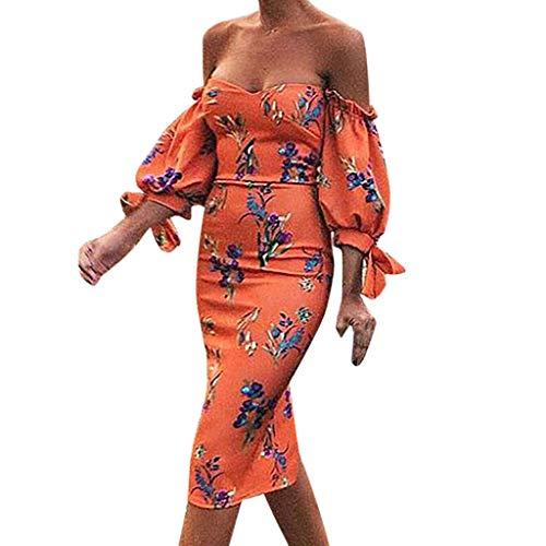 Vestidos Largo Muje Elegante Fiesta Vestidos Vestido de Cóctel Vestido de Noche Slim Fit Sexys Vestido Moda Vestidos Largo Manga Corta Vestido un Hombro Vestido Playa Mujer vpass